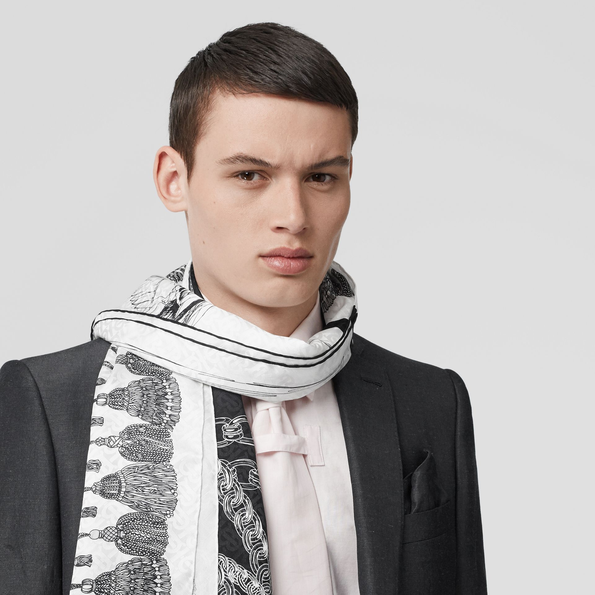 Sketch Print Monogram Silk Jacquard Scarf in Black/white | Burberry United Kingdom - gallery image 3
