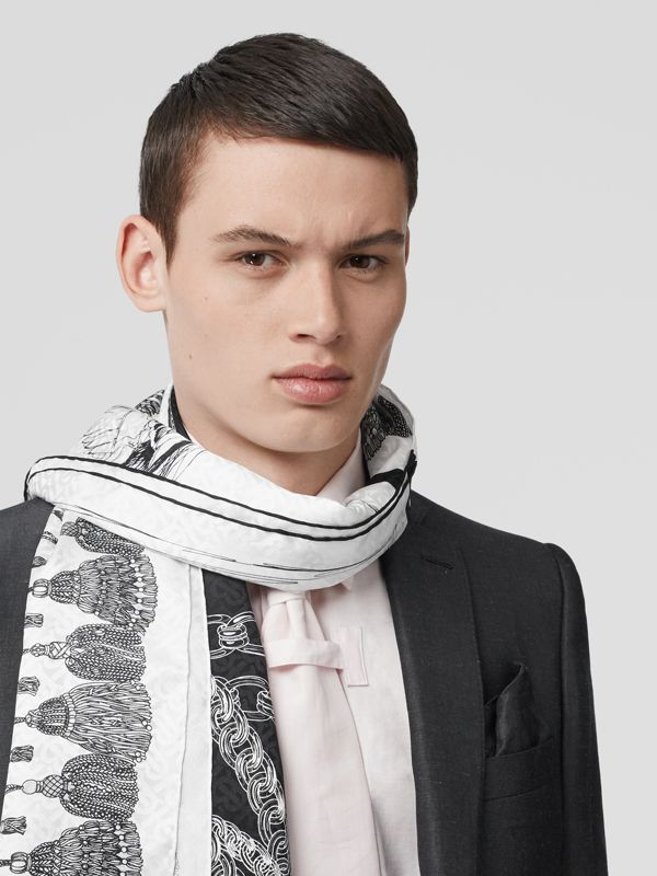 Sketch Print Monogram Silk Jacquard Scarf in Black/white | Burberry - cell image 3