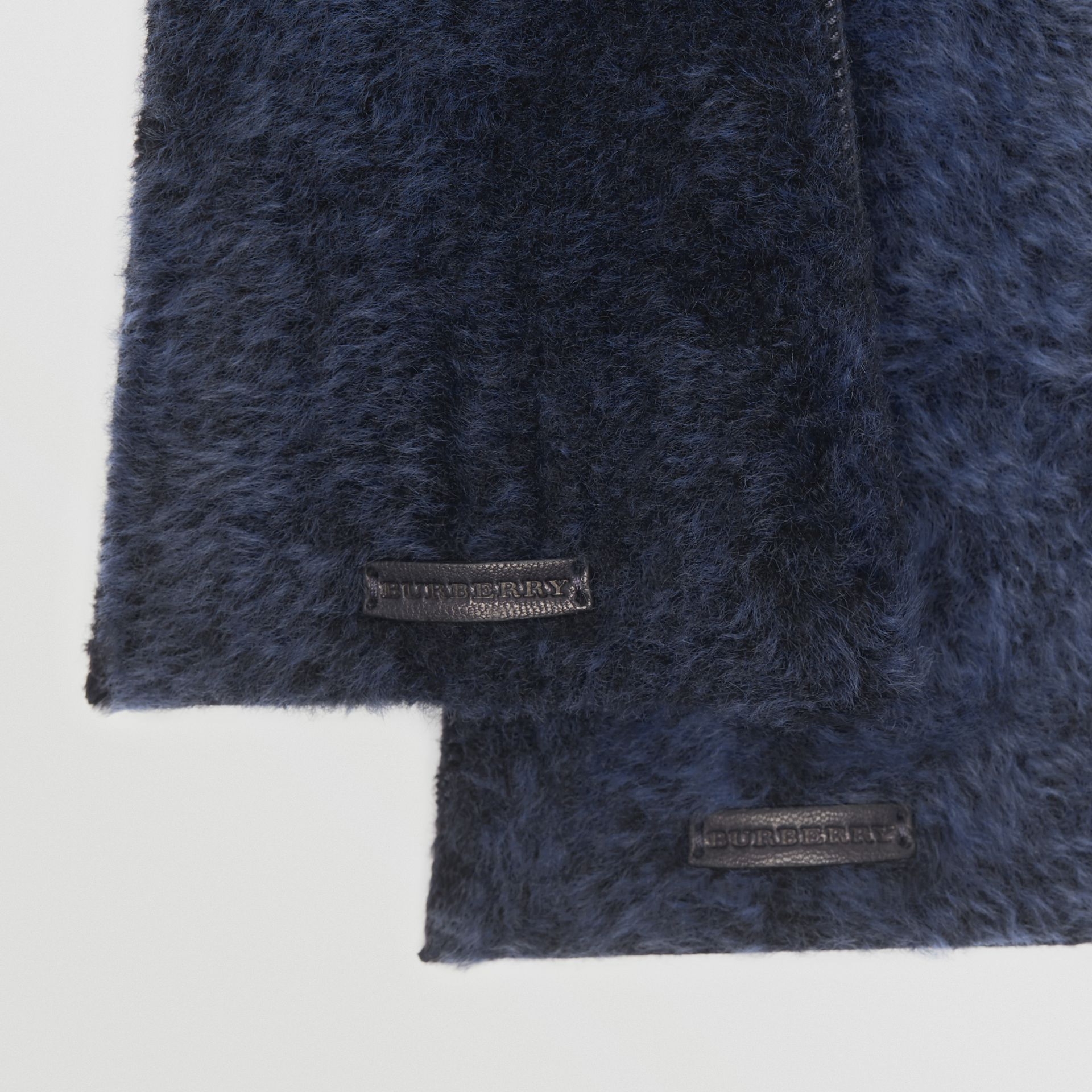 Shearling and Leather Gloves in Navy | Burberry - gallery image 1