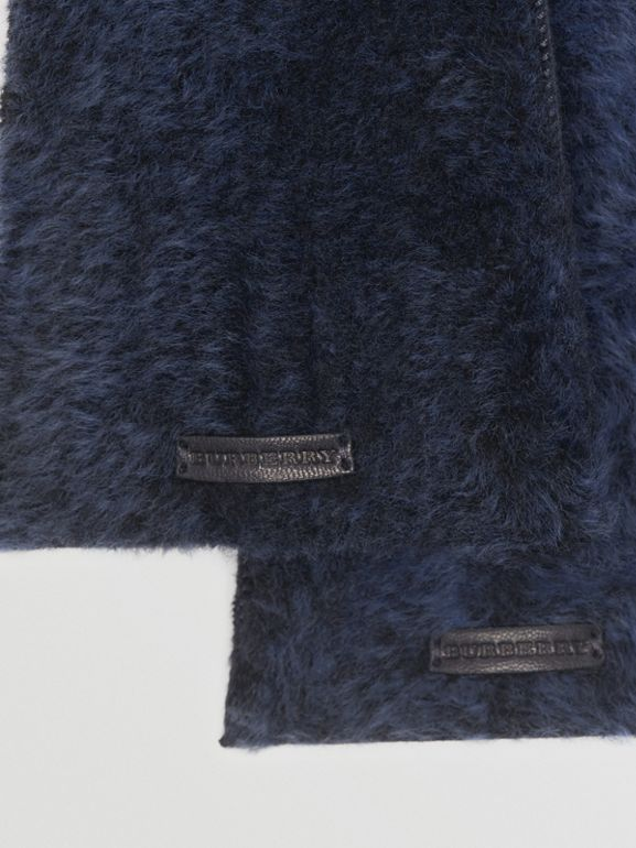 Shearling and Leather Gloves in Navy | Burberry - cell image 1