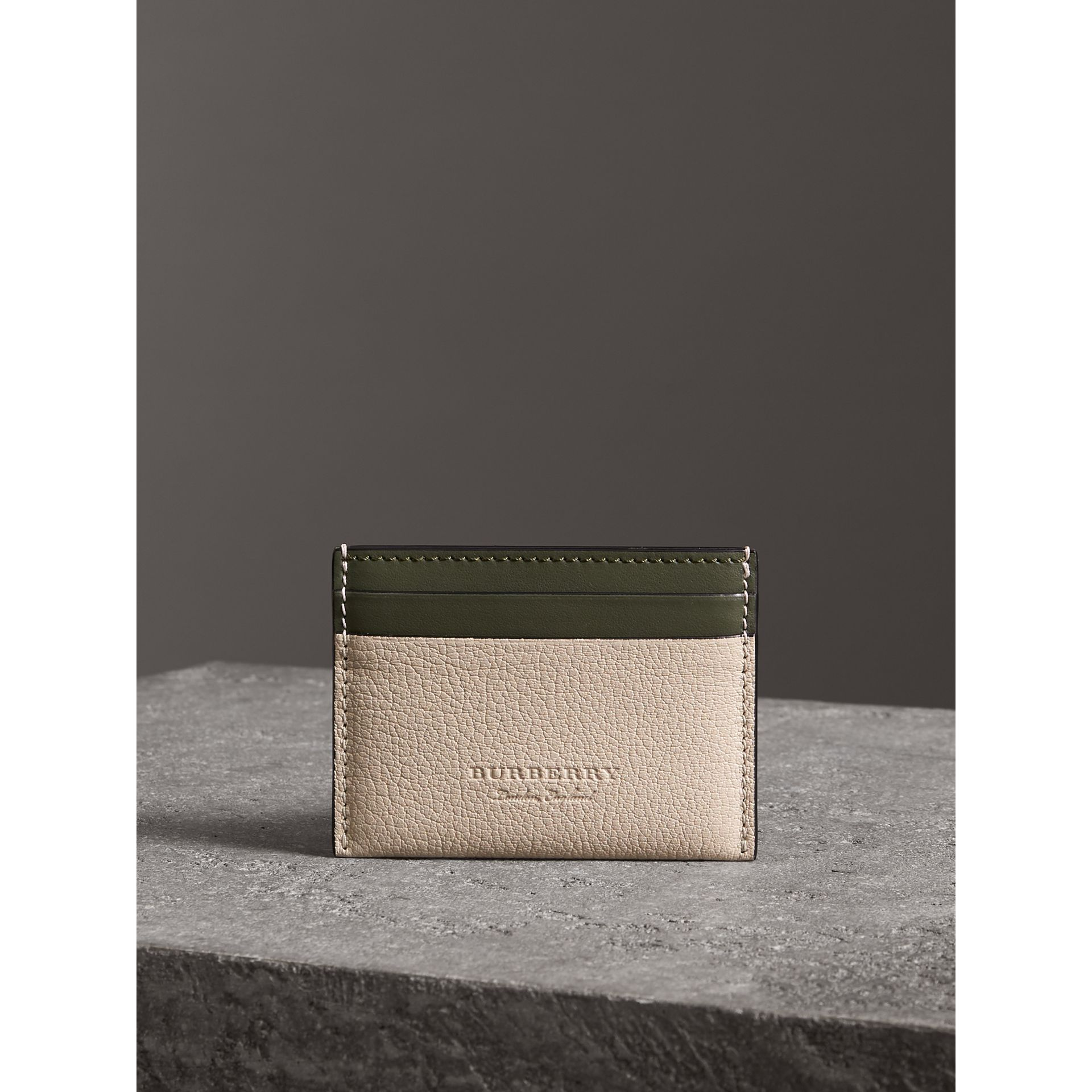 Two-tone Leather Card Case in Stone | Burberry - gallery image 3