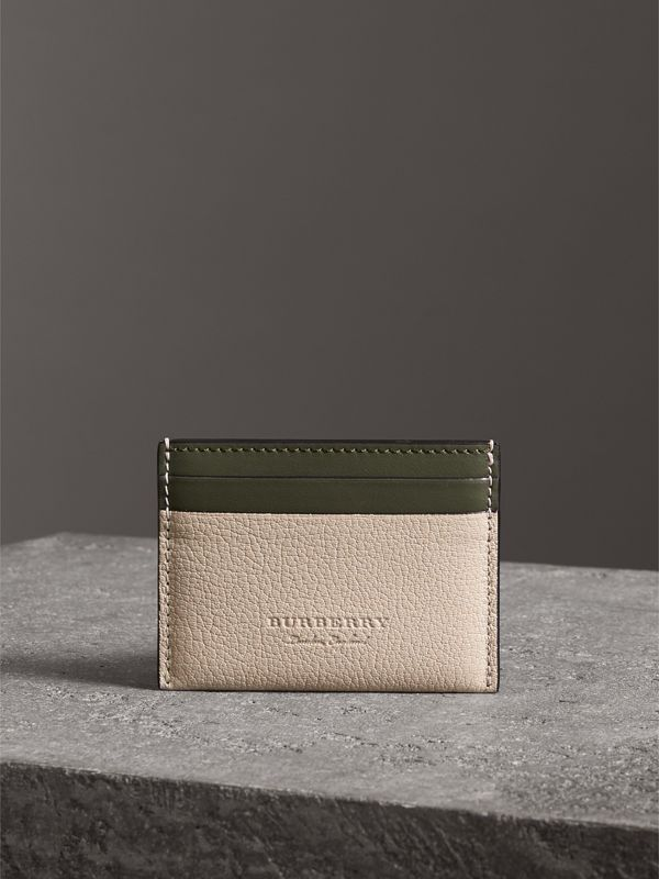 Two-tone Leather Card Case in Stone | Burberry - cell image 3