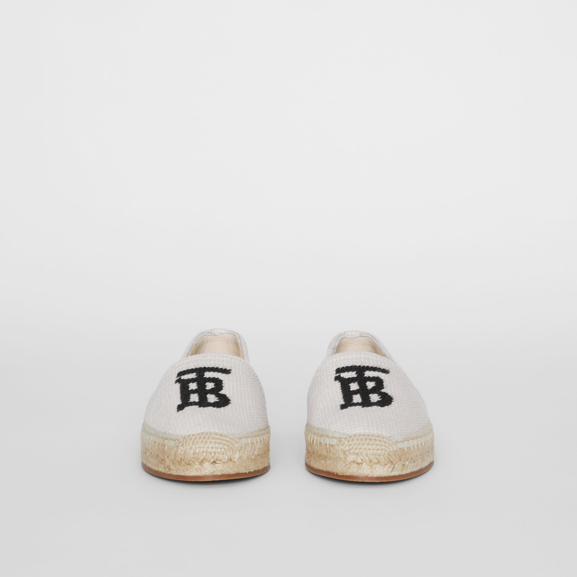 Monogram Motif Cotton and Leather Espadrilles in Ecru/black - Women | Burberry - gallery image 2