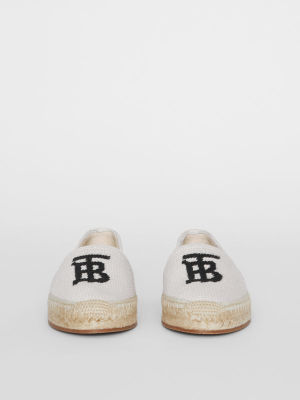 Monogram Motif Cotton and Leather Espadrilles in Ecru/black - Women | Burberry United Kingdom - cell image 2