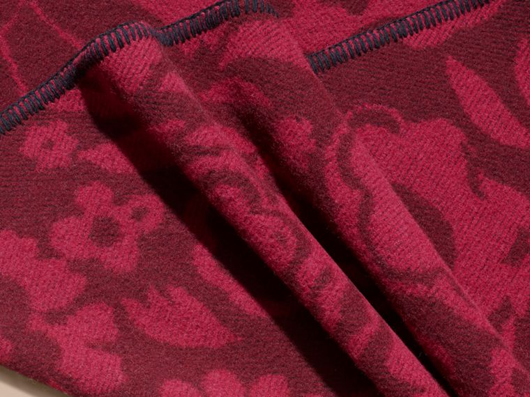 Plum Floral Jacquard Wool Cashmere Poncho - cell image 1