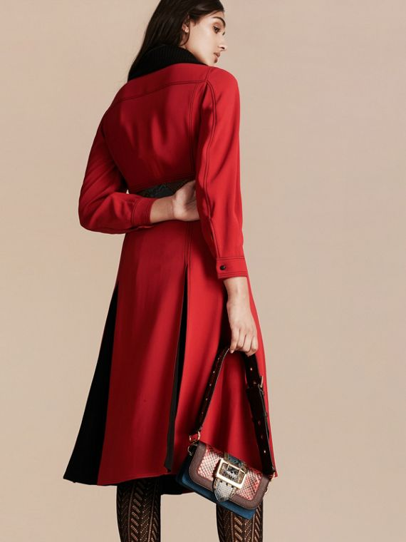 Parade red Georgette Dress with Detachable Knitted Cashmere Collar - cell image 2