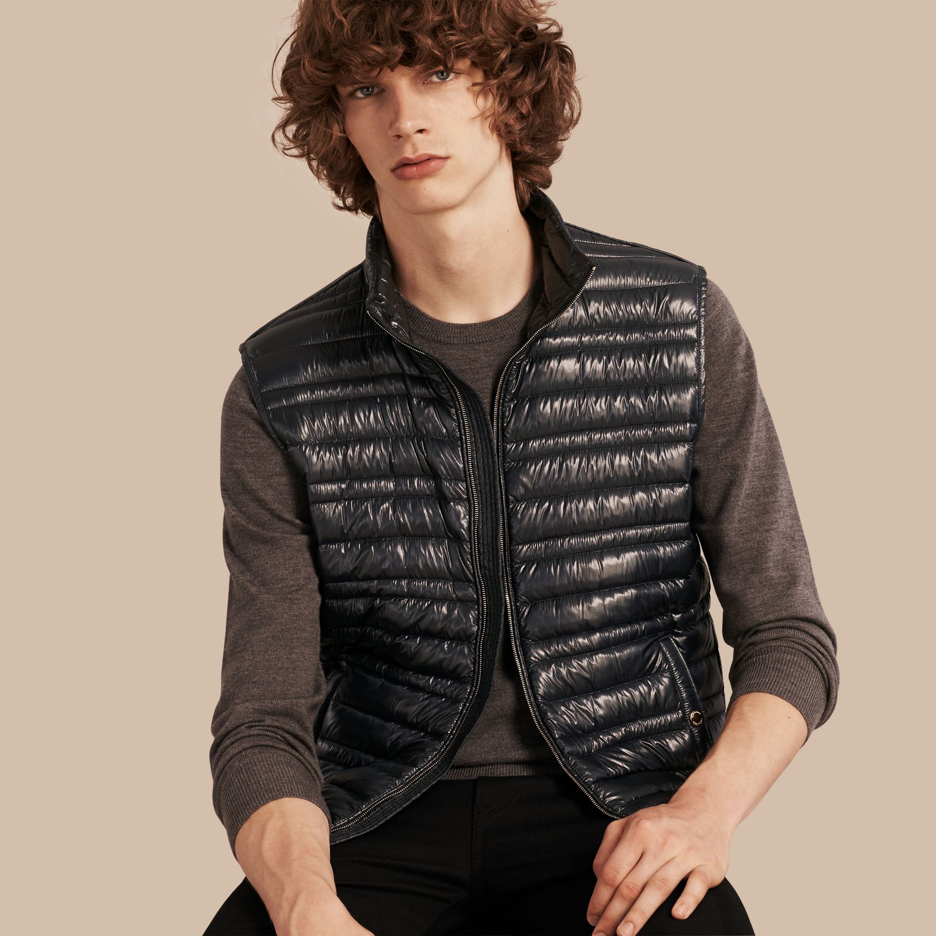 Navy Lightweight Down-filled Gilet - gallery image 1