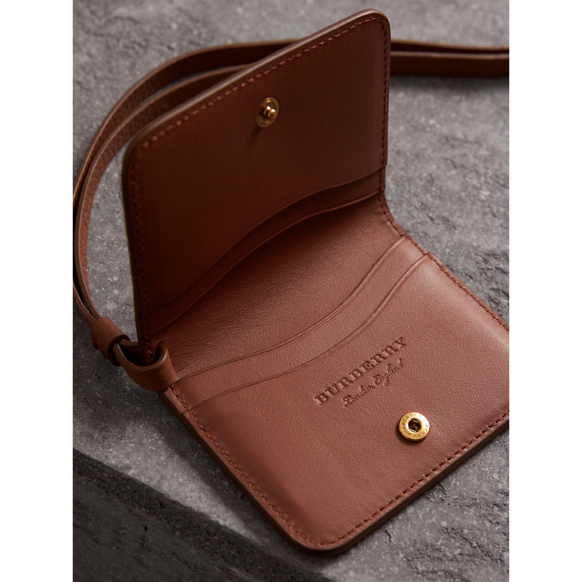 Embossed Leather ID Card Case Charm in Chestnut Brown - Women | Burberry - gallery image 4