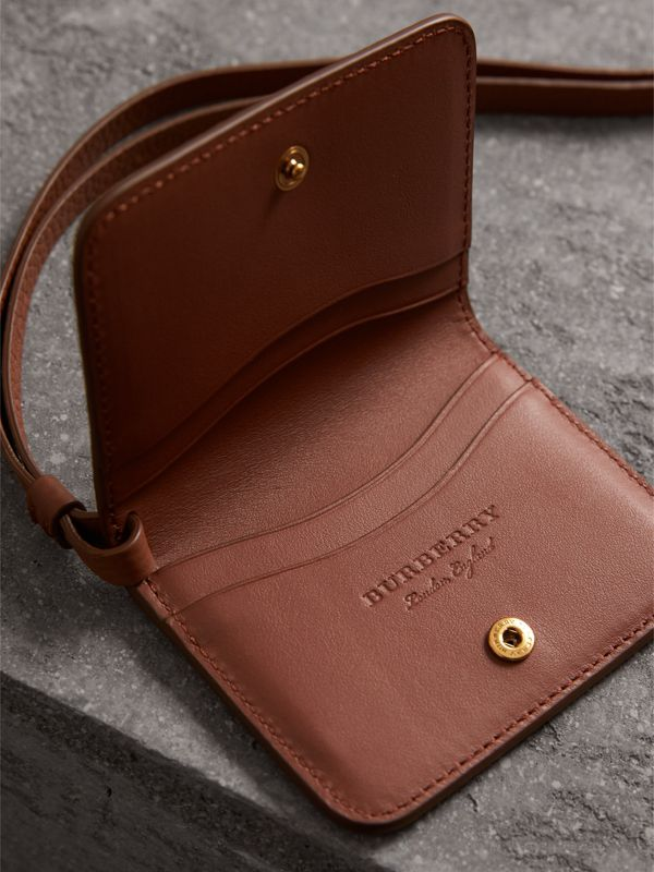 Embossed Leather ID Card Case Charm in Chestnut Brown | Burberry - cell image 3
