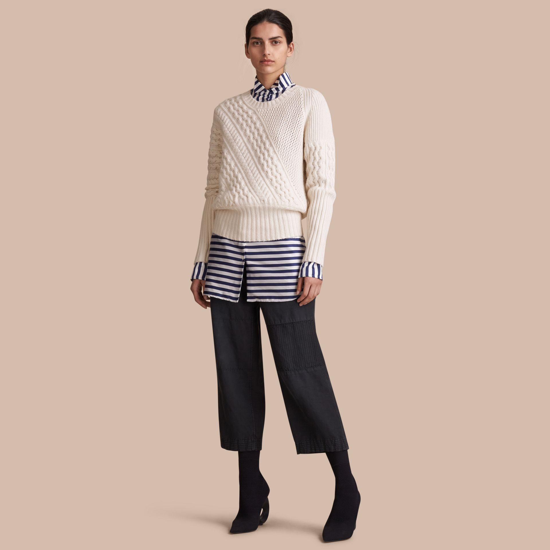 Cable and Rib Knit Panel Wool Cashmere Sweater - Women | Burberry - gallery image 1