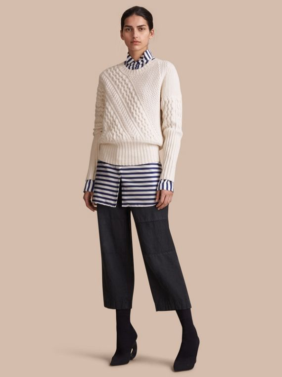 Cable and Rib Knit Panel Wool Cashmere Sweater in Natural White