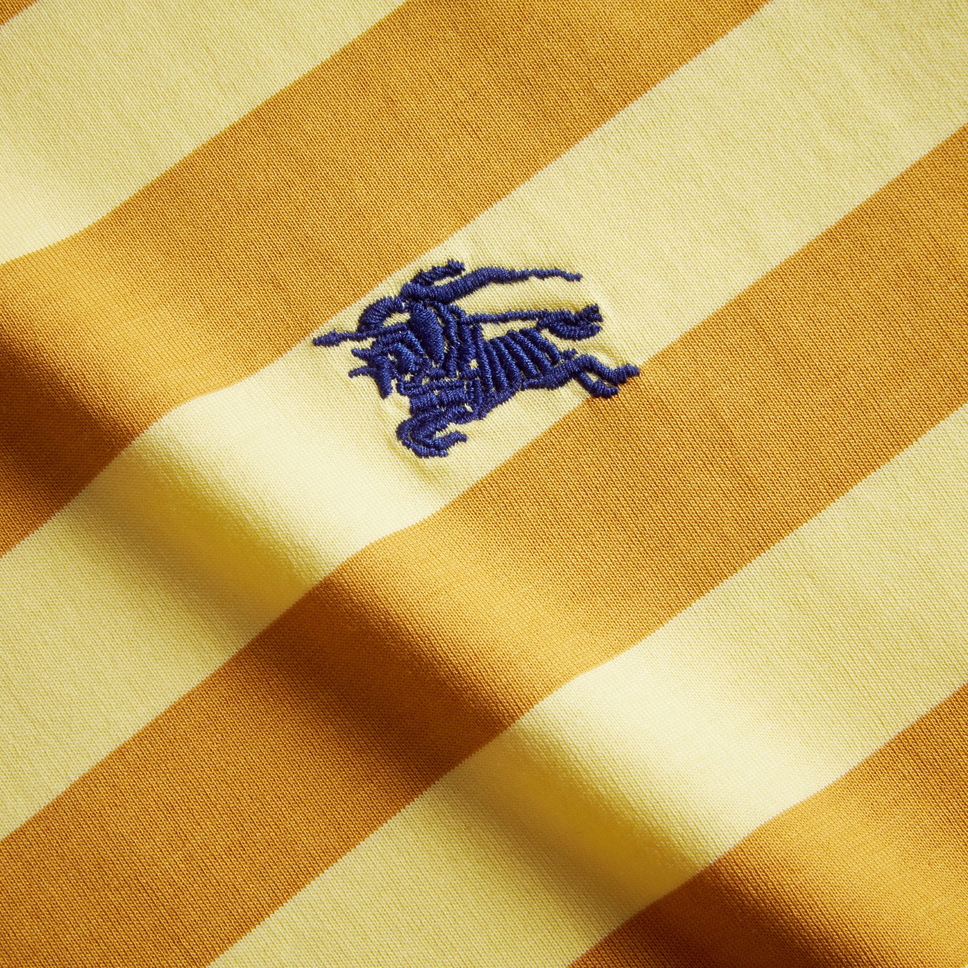 Striped Cotton T-Shirt in Pale Yellow/ochre Yellow - gallery image 2