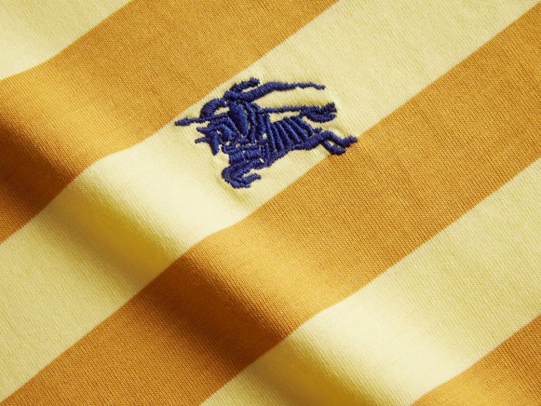 Striped Cotton T-Shirt in Pale Yellow/ochre Yellow - cell image 1