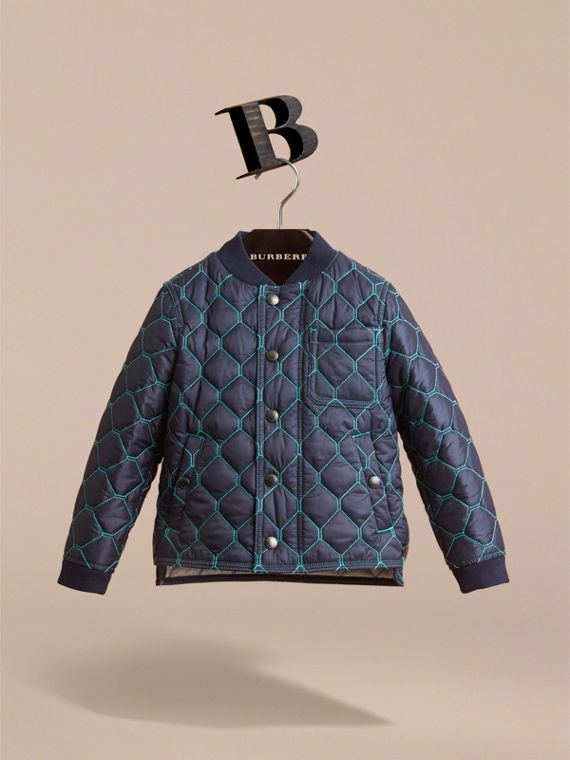 Contrast Topstitch Detail Quilted Jacket in Navy
