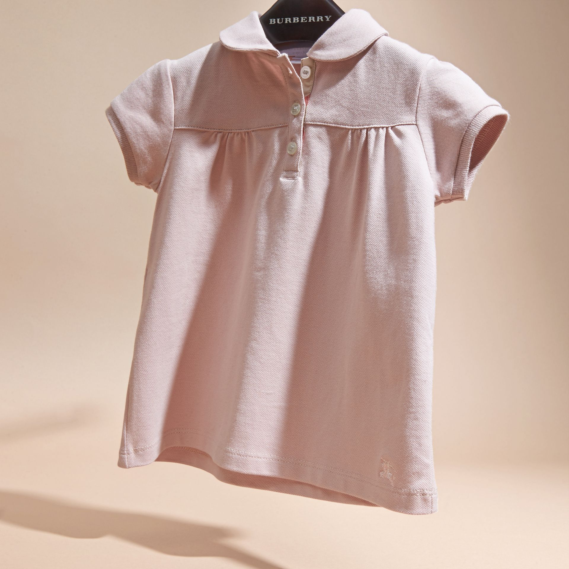 Chalk pink Ruched Detail Stretch Cotton Polo Shirt Chalk Pink - gallery image 3