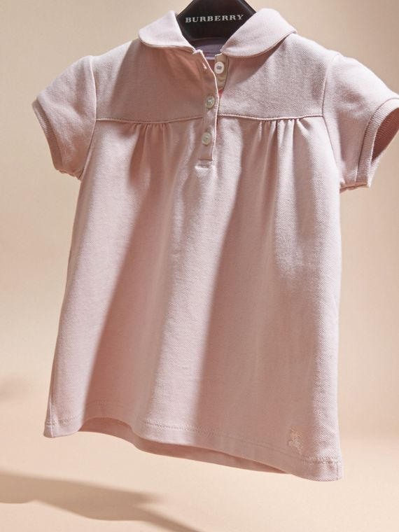 Chalk pink Ruched Detail Stretch Cotton Polo Shirt Chalk Pink - cell image 2