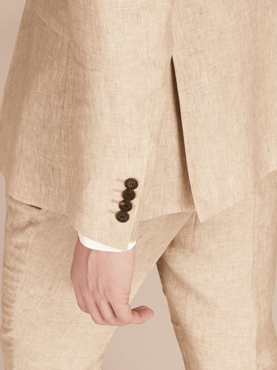 Pale stone Modern Fit Linen Jacket - cell image 3