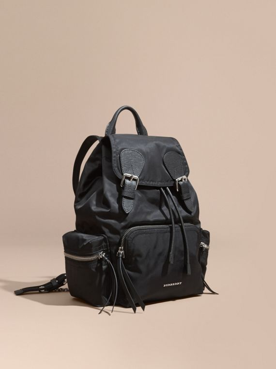 The Medium Rucksack in Nylon and Leather