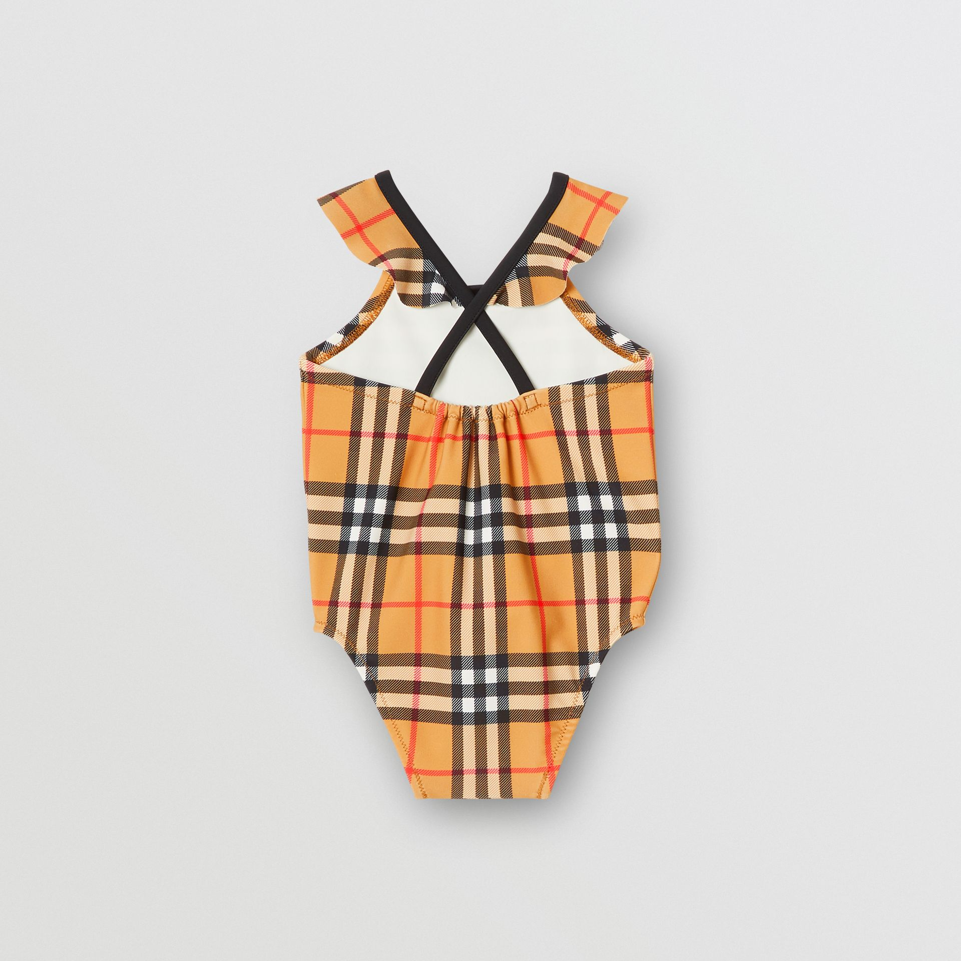 Ruffle Detail Vintage Check Swimsuit in Antique Yellow - Children | Burberry Australia - gallery image 2