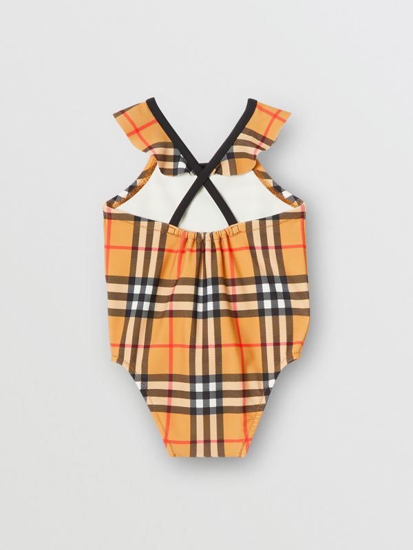 Ruffle Detail Vintage Check Swimsuit in Antique Yellow - Children | Burberry - cell image 2