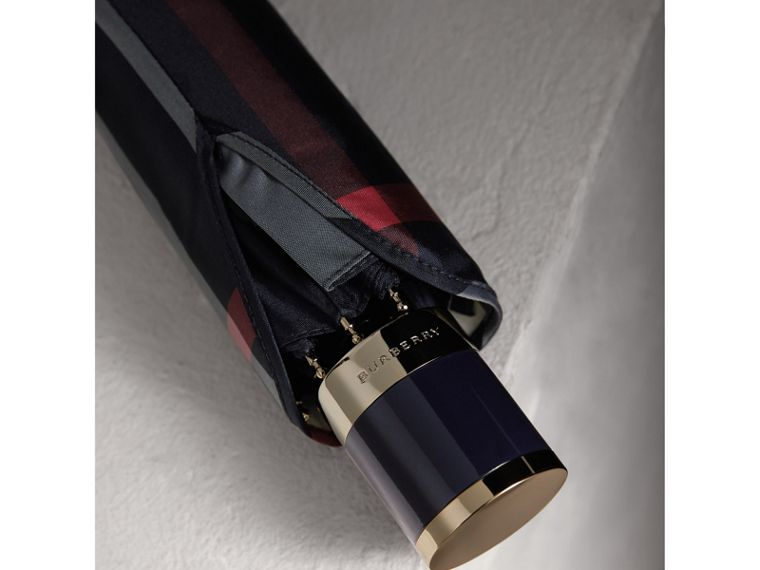Check Folding Umbrella in Navy | Burberry - cell image 1