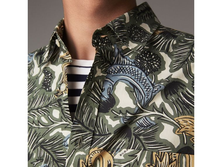 Beasts Print Cotton Poplin Longline Shirt in Sage Green - Men | Burberry - cell image 1