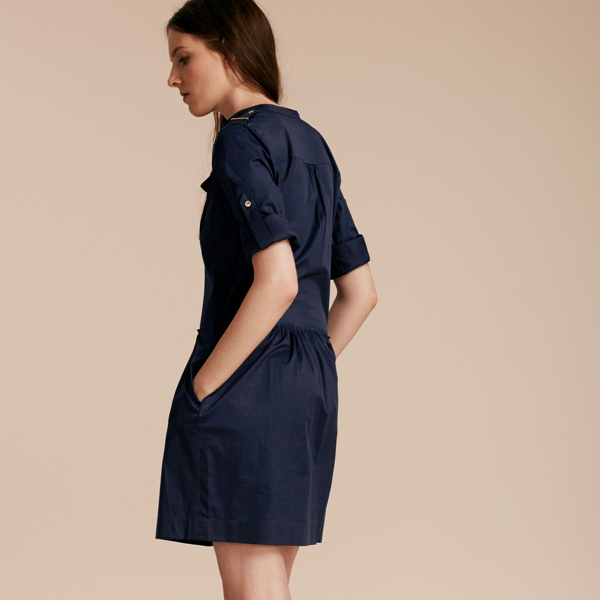 Dark pewter blue Military-inspired Cotton Blend Shirt Dress Dark Pewter Blue - gallery image 3