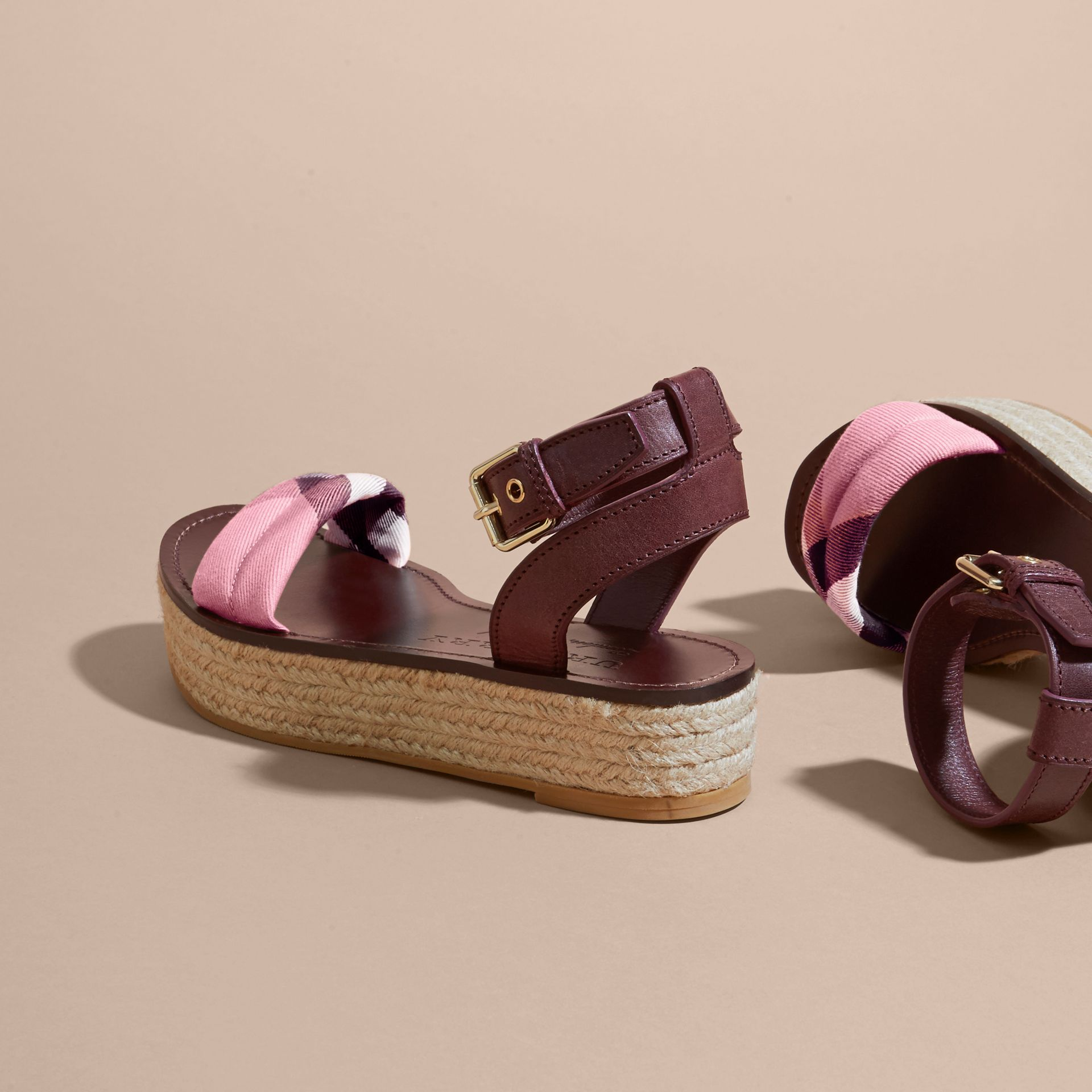 Leather and House Check Espadrille Platform Sandals in Cerise Purple - gallery image 5