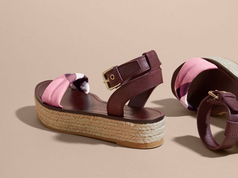 Leather and House Check Espadrille Platform Sandals in Cerise Purple - cell image 4