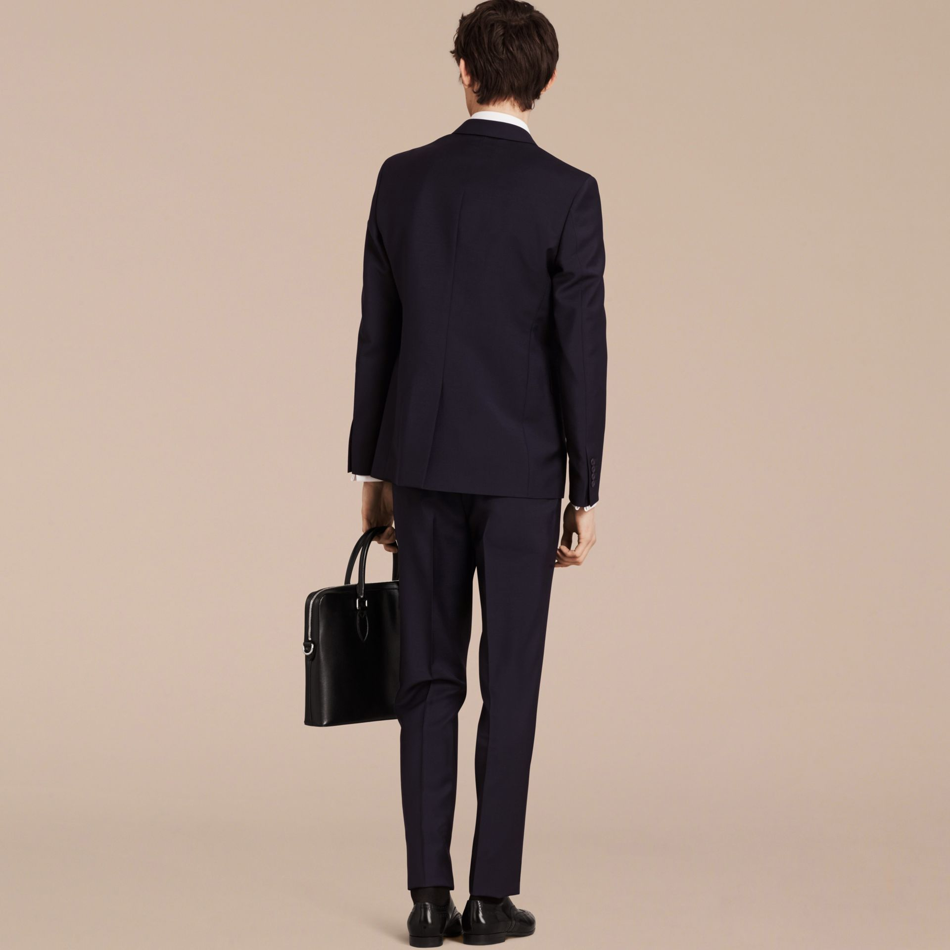 Slim Fit Wool Mohair Part-canvas Suit in True Navy - Men | Burberry - gallery image 3