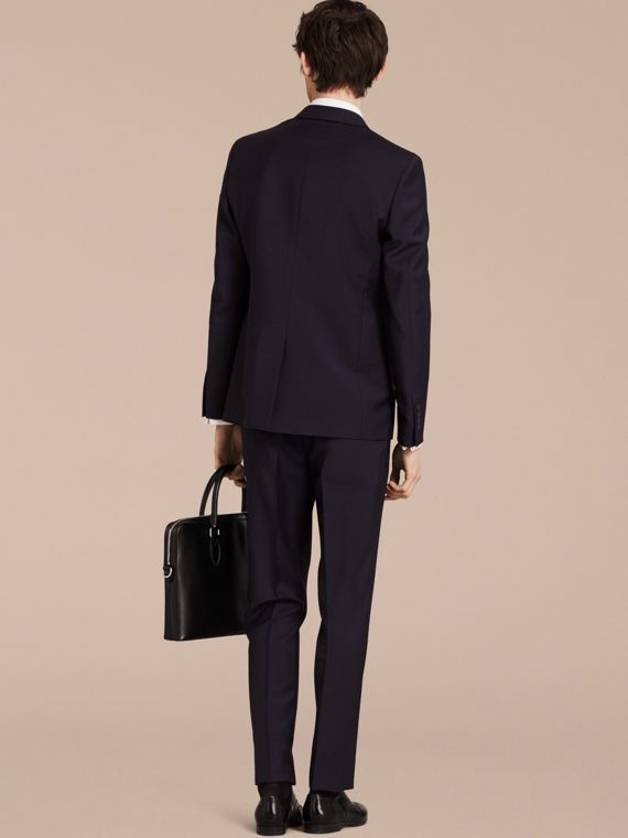 Slim Fit Wool Mohair Part-canvas Suit in True Navy - cell image 2