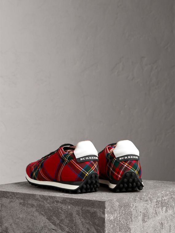 Tartan Wool Trainers in Red - Men | Burberry Australia - cell image 2