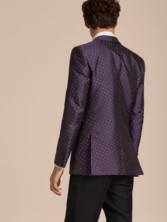 Berenjena oscuro Chaqueta de vestir entallada en jacquard de seda con motivo geométrico - cell image 2