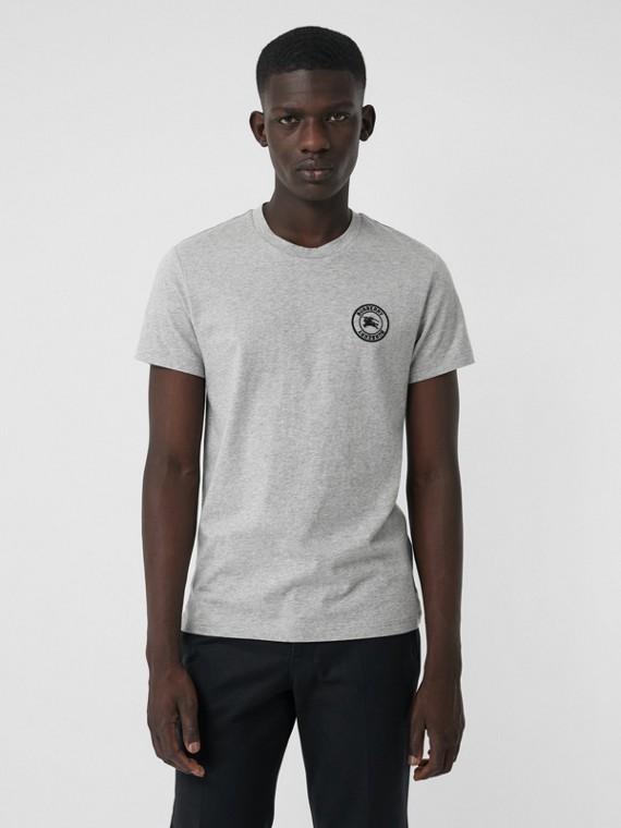 Camiseta de algodão com logotipo bordado (Cinza Claro Mesclado)