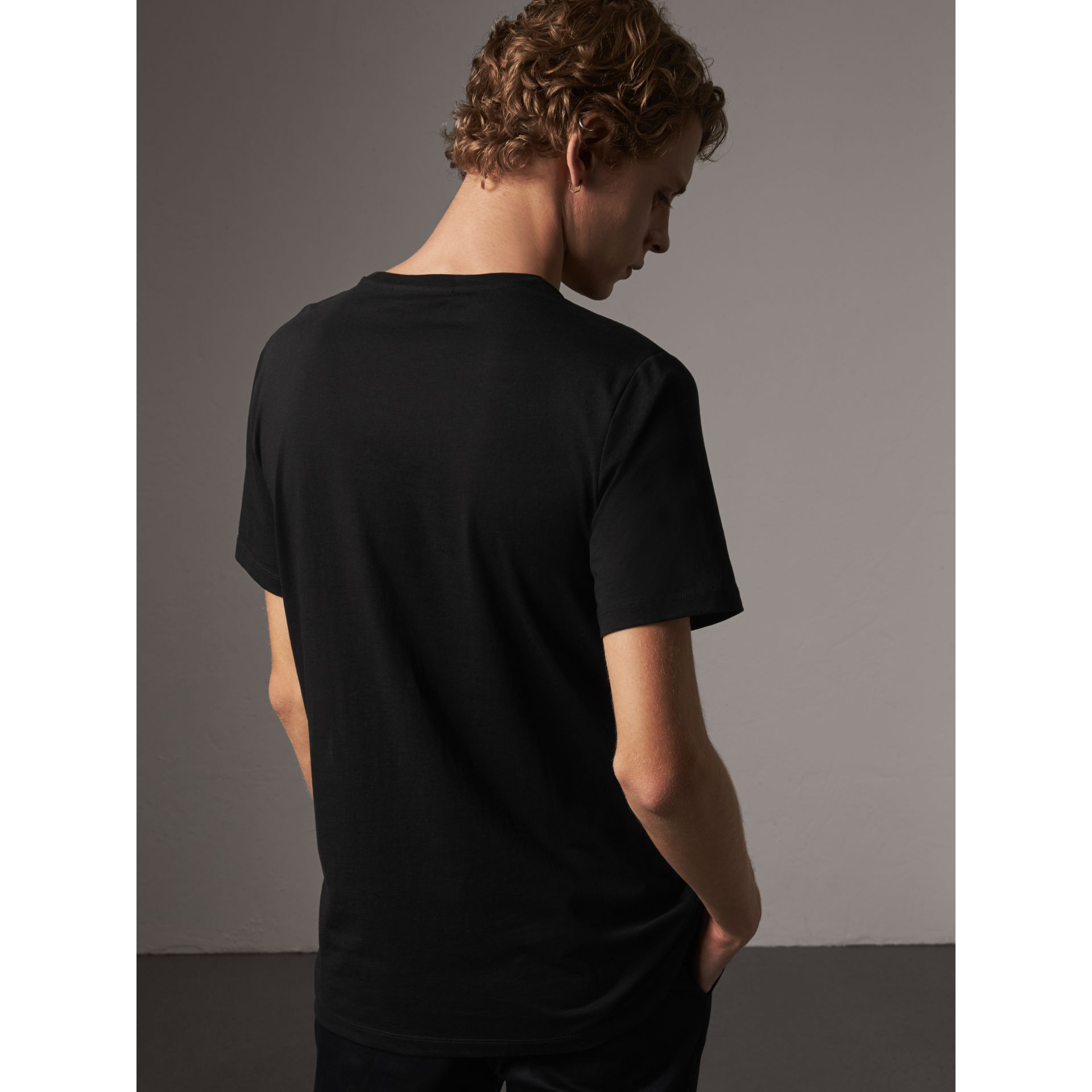 Rope Embroidered Pocket Cotton T-shirt in Black - Men | Burberry United Kingdom - gallery image 2