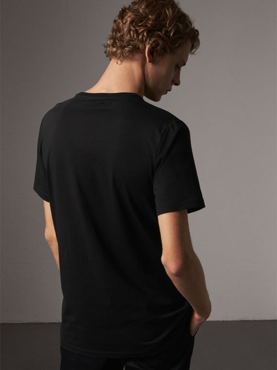 Rope Embroidered Pocket Cotton T-shirt in Black - Men | Burberry United Kingdom - cell image 2