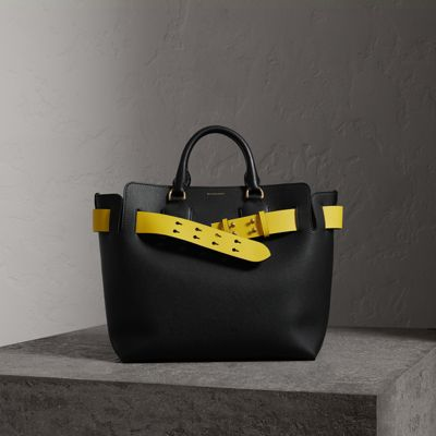 Small Contrast Belt Leather Tote - Black