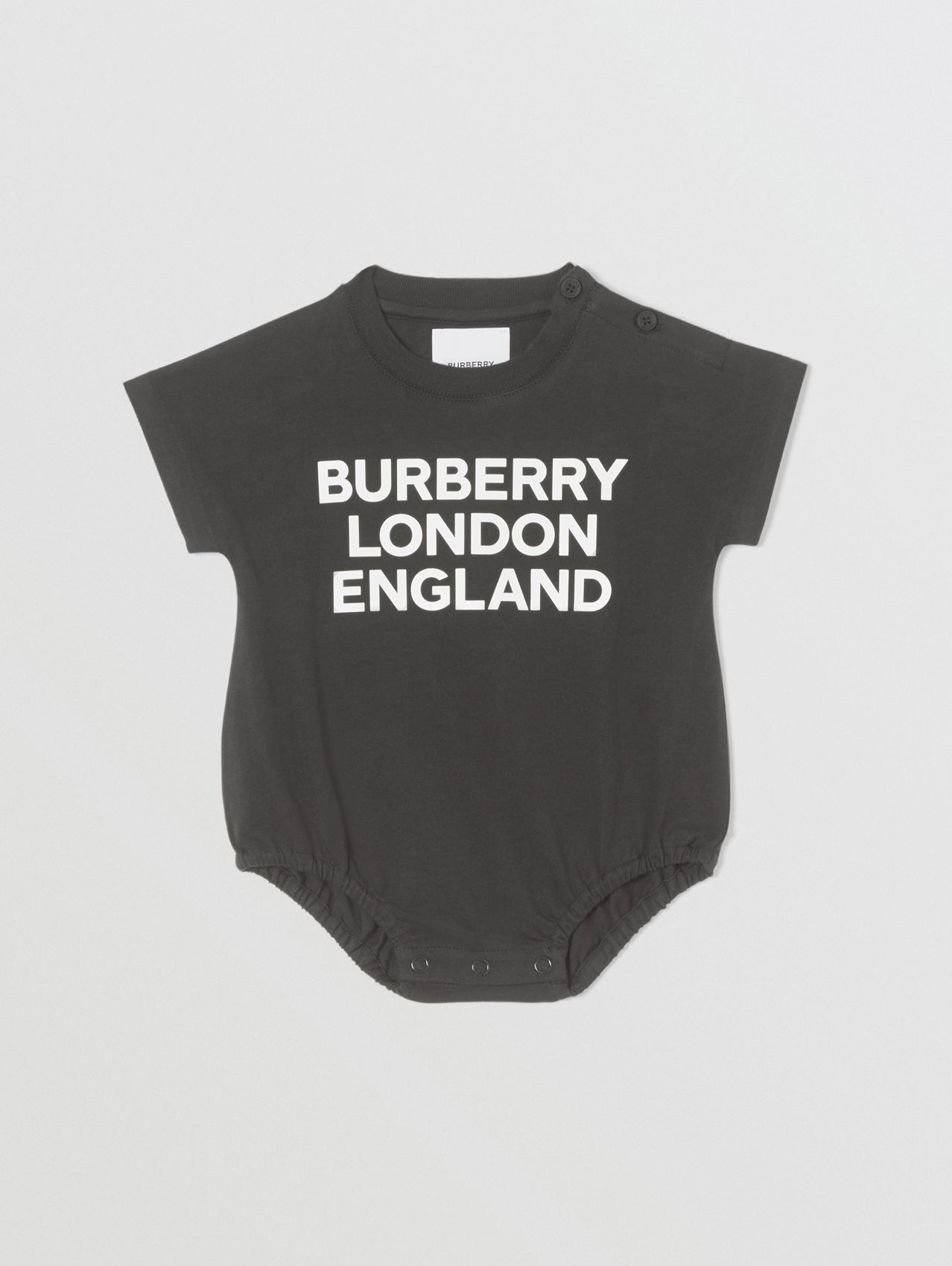 Logo Print Organic Cotton Bodysuit in Black