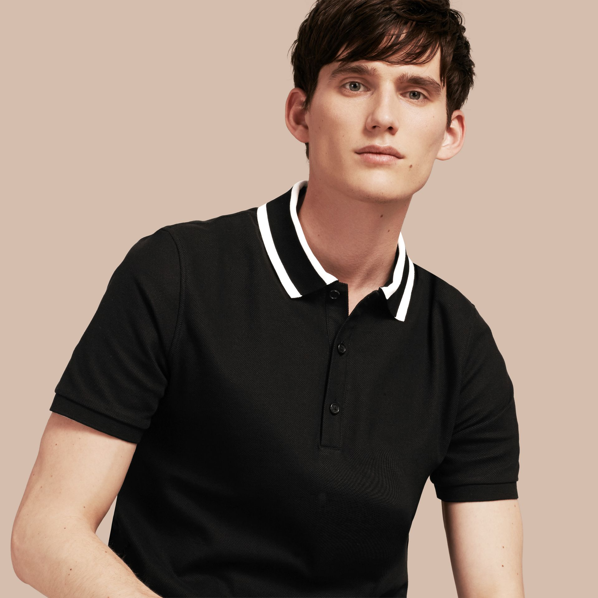 Striped Collar Cotton Piqué Polo Shirt Black - gallery image 1