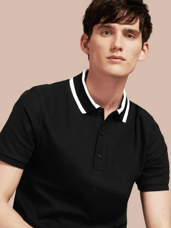 Striped Collar Cotton Piqué Polo Shirt Black