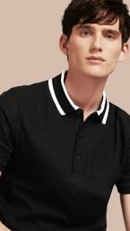 Striped Collar Cotton Piqué Polo Shirt