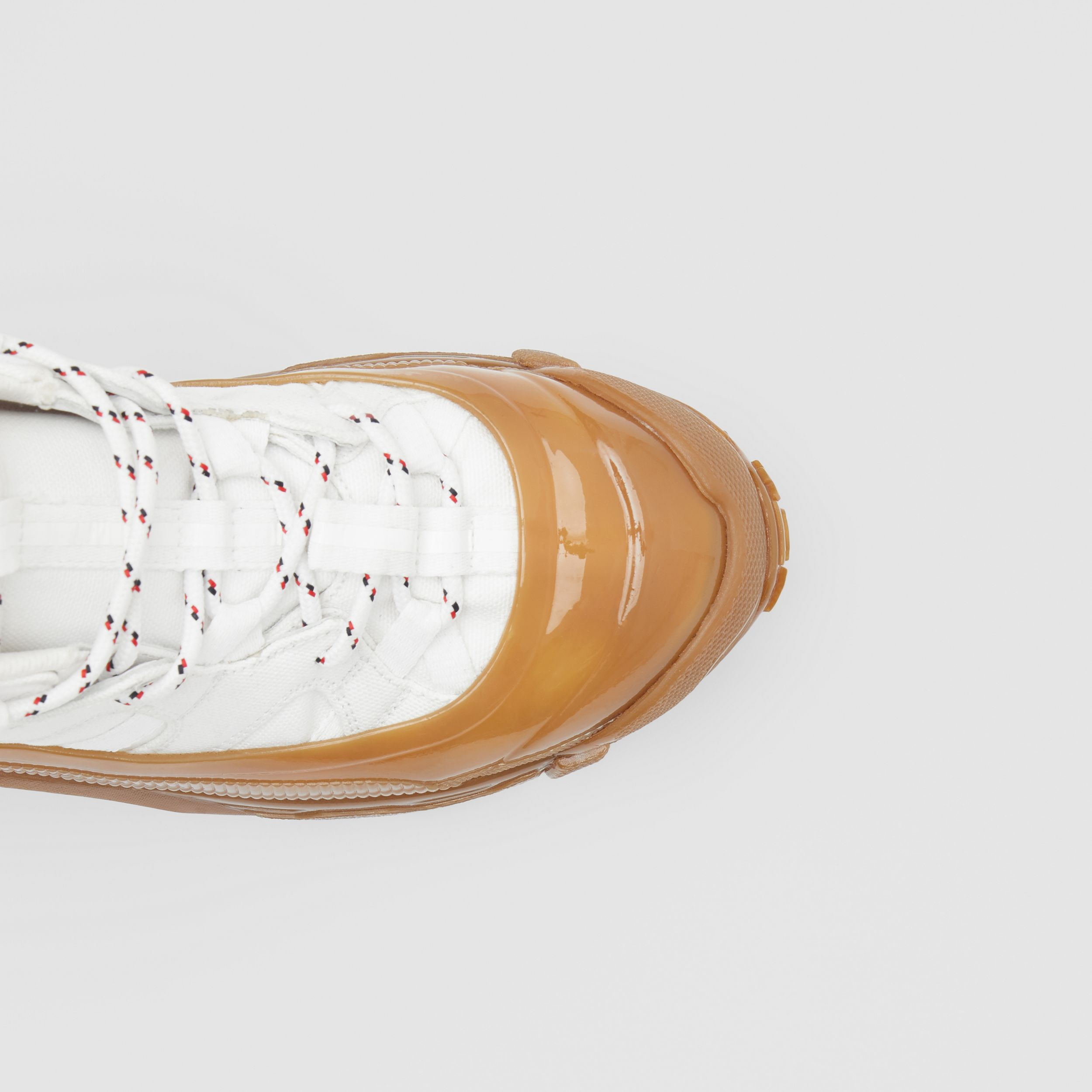 Cotton and Suede Arthur Sneakers in White/amber - Women | Burberry United Kingdom - 2