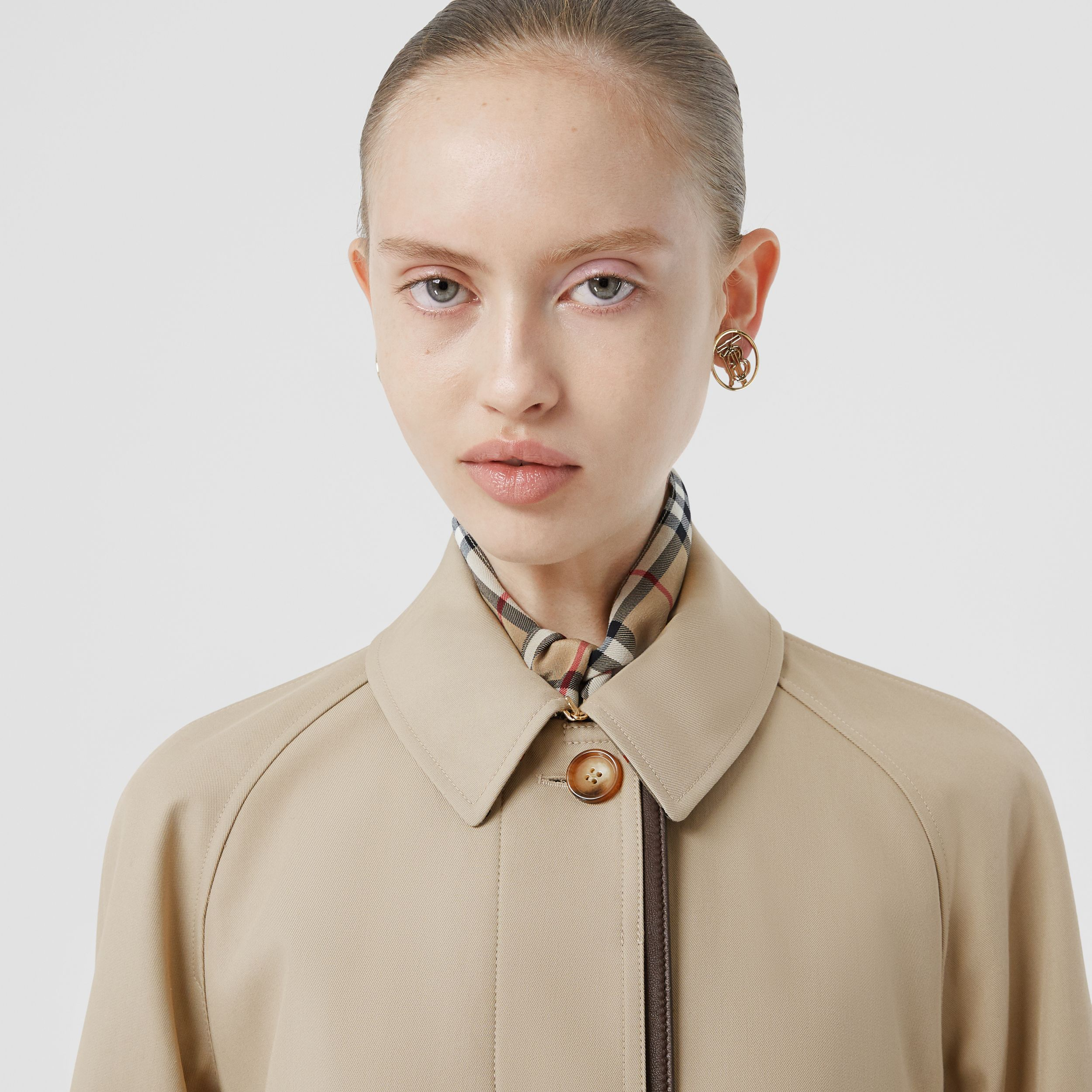 Lambskin Trim Cotton Gabardine Belted Car Coat in Stone - Women | Burberry - 2