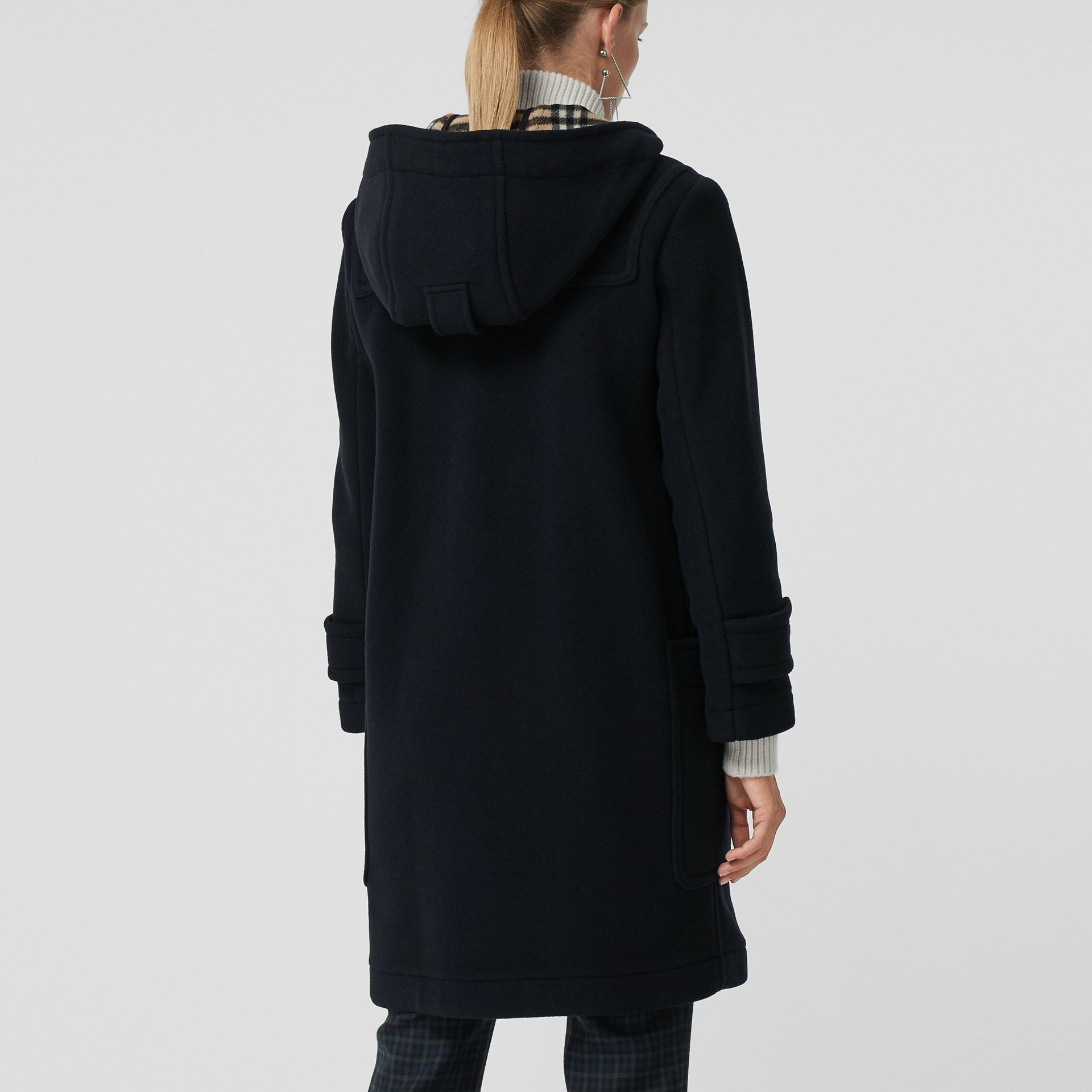 Wool Blend Oversized Duffle Coat in Navy - Women | Burberry Singapore - gallery image 2
