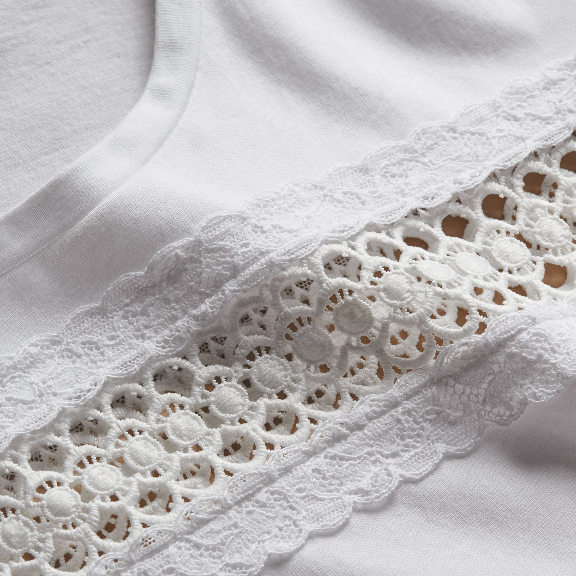 Lace Detail Cotton T-shirt White - gallery image 2