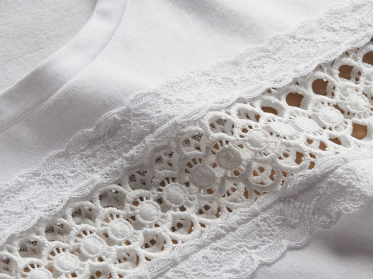 Lace Detail Cotton T-shirt White - cell image 1