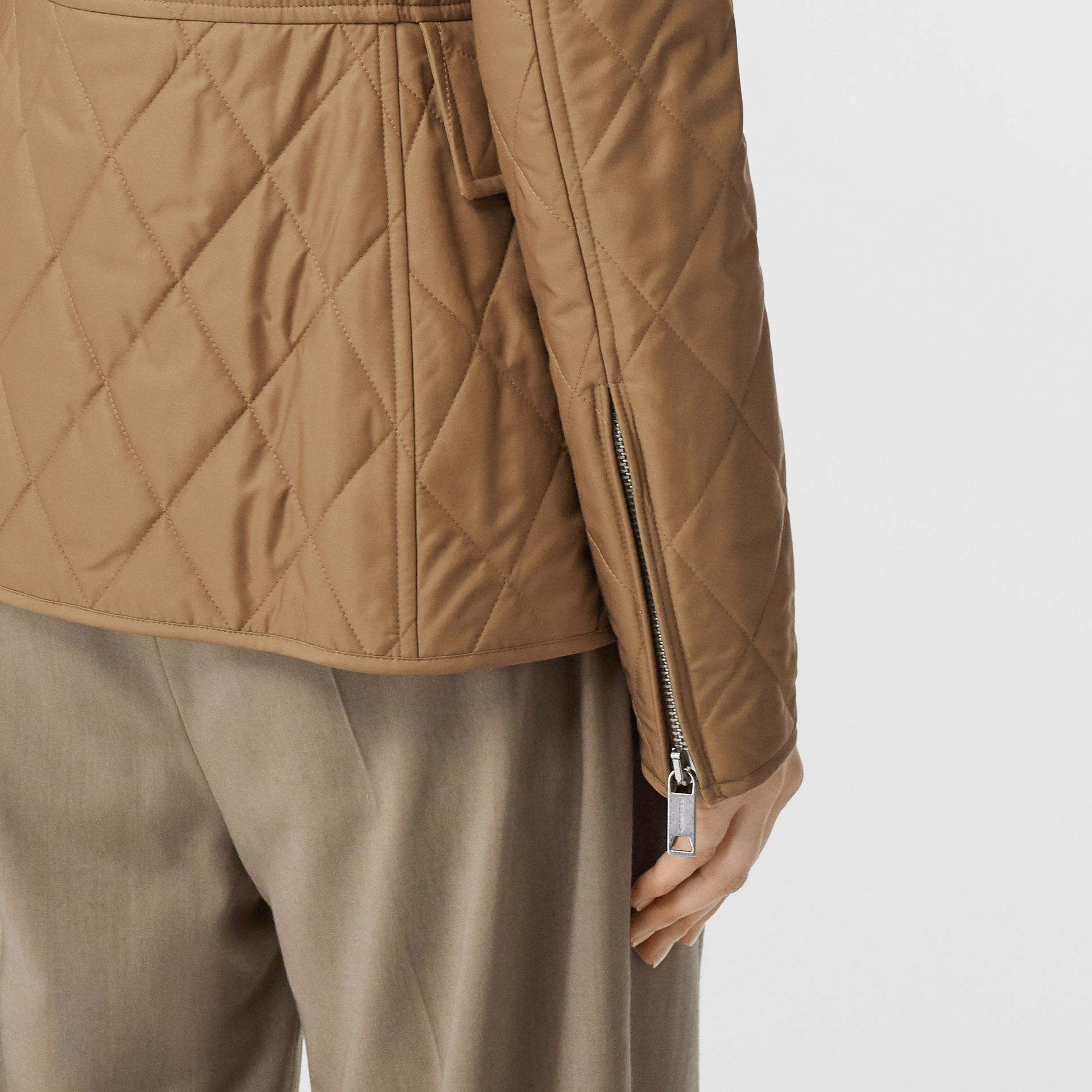 Monogram Motif Quilted Riding Jacket in Honey - Women | Burberry United Kingdom - gallery image 5