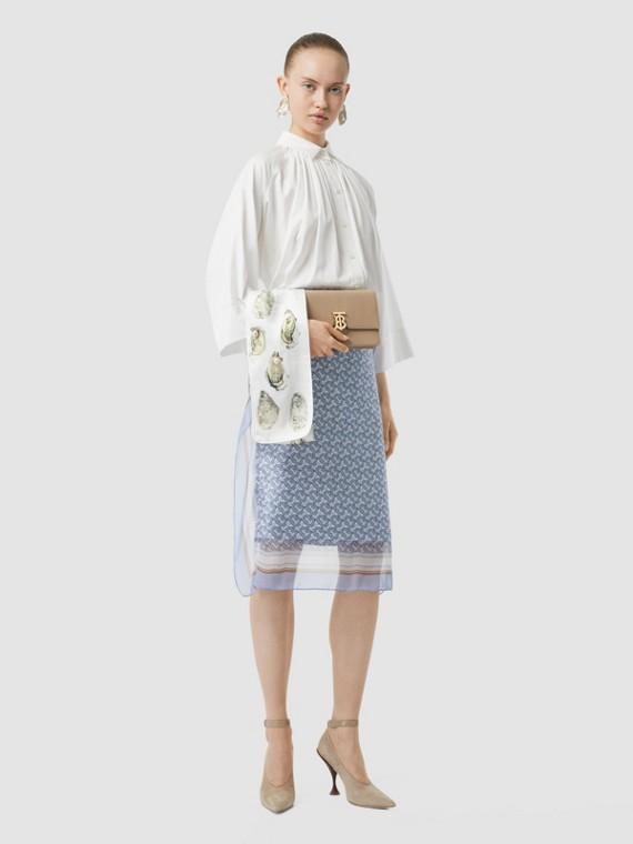 花押字棉質提花寬版襯衫 (光白色)