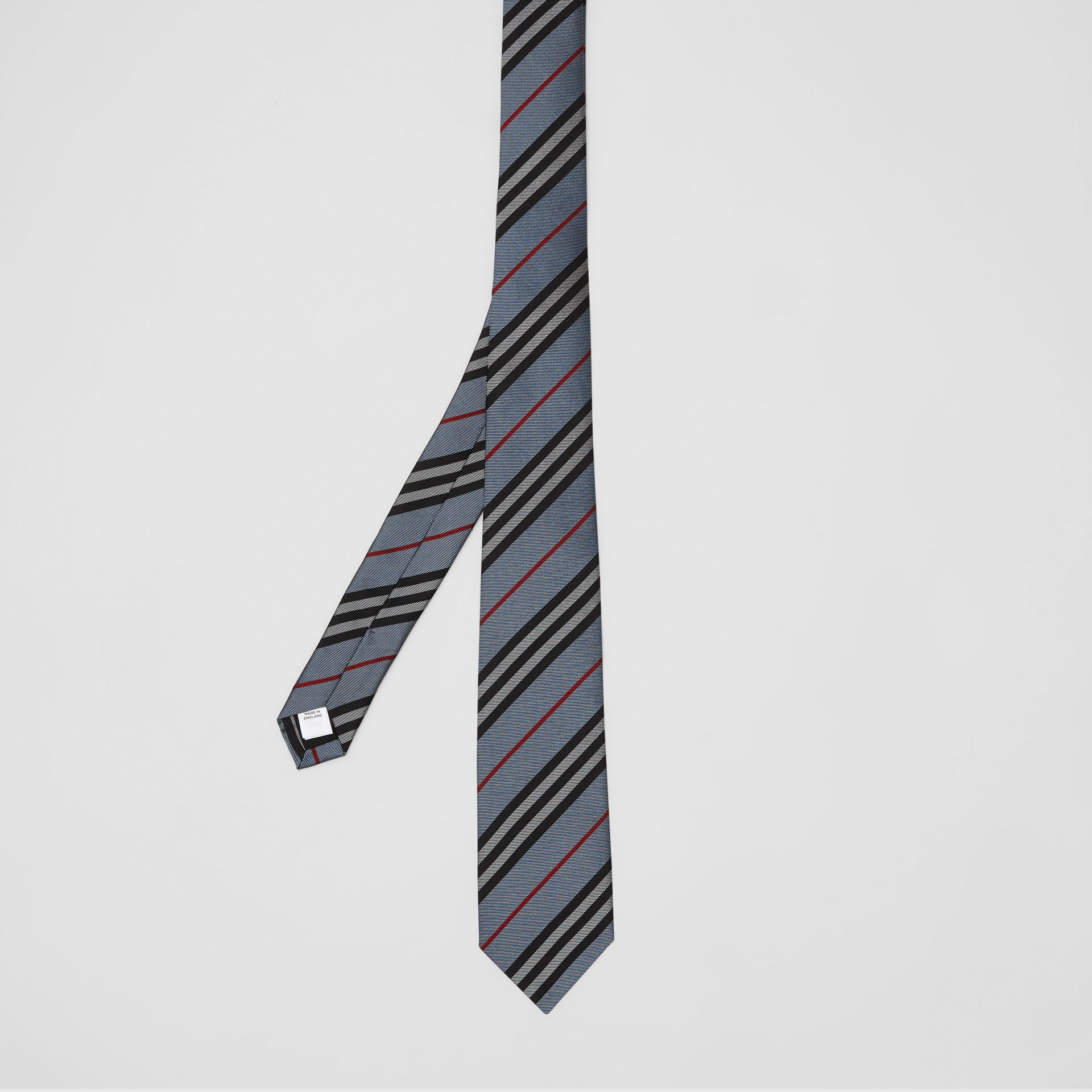 Classic Cut Icon Stripe Silk Tie in Pale Blue - Men | Burberry Singapore - gallery image 4