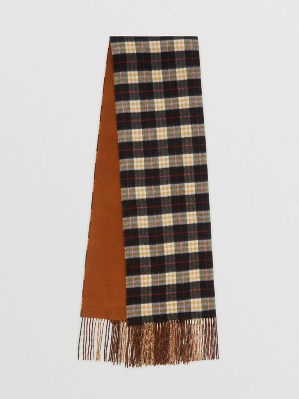 Colour Block Vintage Check Cashmere Scarf in Toffee